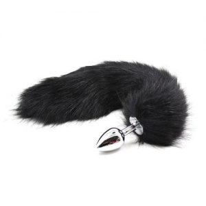 Plug anale con coda Long Fox Tail nera